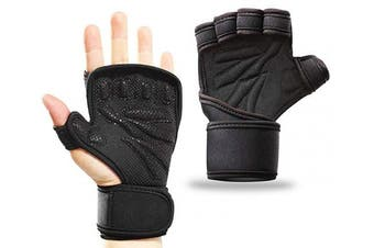 (XL(Fits 23cm --25cm ), Black) - Smago Weight Lifting Gloves, Breathable Soft Workout Gloves with Extra Grip, Exercise Gloves, Gym Gloves for Powerlifting, Fitness, Cross Training for Men Women