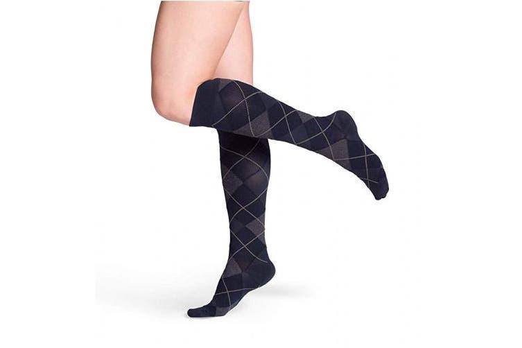 (Small Short, Navy Argyle) - Sigvaris 832 Microfiber Shades Men's Closed Toe Knee High Socks 20 30 mmHg Short Navy Argyle SS Short 832CSSM43