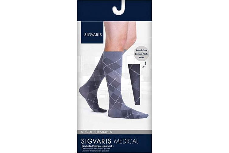 (Small Long, Onyx Argyle) - Sigvaris 832 Microfiber Shades Men's Closed Toe Knee High Socks 20 30 mmHg Long Onyx Argyle SL Long 832CSLM49
