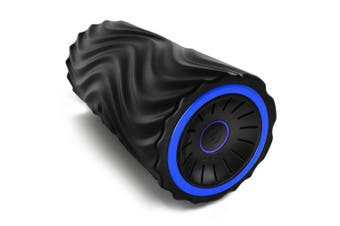 (Black/Blue) - Zyllion Vibrating Foam Roller with 4 Intensity Settings – Rechargeable High Density Massager for Post Workout Muscle Recover, Myofascial Release, and Deep Tissue Massage, ZMA-22