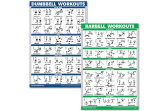 (46cm  x 70cm , LAMINATED) - QuickFit Dumbbell Workouts and Barbell Exercise Poster Set - Laminated 2 Chart Set - Dumbbell Exercise Routine & Barbell Workouts
