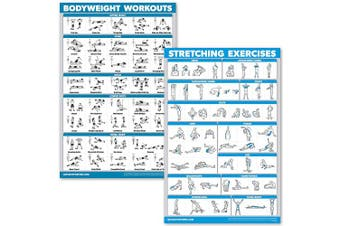 (46cm  x 70cm , LAMINATED) - QuickFit Bodyweight Workouts and Stretching Exercise Poster Set - Laminated 2 Chart Set - Body Weight Exercise Routine & Stretching Workouts