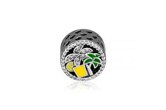 (Tropical Forest) - CKK Tropical Forest Charms for Women Fits Original Pandora Bracelet 925 Sterling Silver Round Beads for Jewellery Making, Clear Crystal & Green,Yellow Enamel