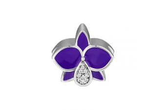 (Orchid) - CKK Flower Charms Fits Pandora Bracelet Authentic Elegant Carter Orchid Beads 925 Sterling Silver Charm for Jewellery Making Purple Enamel Clear Crystal