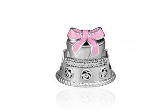 (Cake) - CKK Original Fit Pandora Bracelet 925 Sterling Silver Happy Birthday Cake Pink Enamel Bead Charms DIY Jewellery Making for Women Lover Christmas Gift