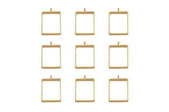 (Square, Golden) - Beadthoven 10pcs Golden Square Alloy Open Back Bezel Big Charms Pendants Frame Pendants Hollow Mould Pendants Hollow Pressed Flower Frame Pendant for DIY Crafts Projects, 29x20x5mm, Hole: 2.2mm