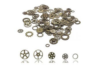 (Bronze) - Steampunk Gear Cog Wheel Skeleton Clock Watch Pendant Charms Ring Eardrop Necklace Charms DIY Steampunk Accessories for Crafting Bracelets Jewellery Making Accessory 100 Gramme Bronze