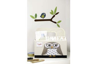 (Owl) - 3 Sprouts Baby Nappy Caddy - Organiser Basket for Nursery, Owl