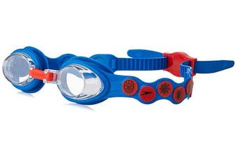 (One Size, Neon Blue/Lava Red/Clear) - Speedo Children's Disney Spot Goggles Ages 2-6