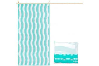 (Green Wave, Large 160cm x 80cm) - just be... Microfibre Compact Portable Travel Holiday Beach Towel – Large Extra Large and XXL Quick Drying Sand Proof Lightweight for Adults and Kids