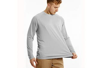 (XXX-Large, gray) - Bewinds Men's UPF 50+ UV Sun Protection Long Sleeve T-Shirt Performance Dri-fit UV Blocking Shirts for Fishing, Hiking, Outdoor Running