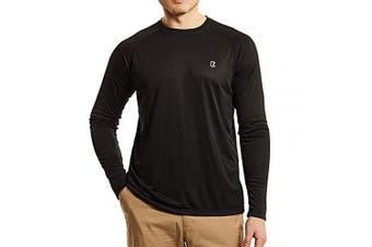(X-Large, black) - Bewinds Men's UPF 50+ UV Sun Protection Long Sleeve T-Shirt Performance Dri-fit UV Blocking Shirts for Fishing, Hiking, Outdoor Running