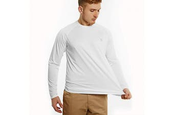 (Medium, white) - Bewinds Men's UPF 50+ UV Sun Protection Long Sleeve T-Shirt Performance Dri-fit UV Blocking Shirts for Fishing, Hiking, Outdoor Running