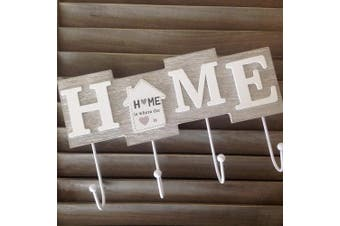 (Home is Where the Heart is) - Alice's Collection - Wooden Hanging Coat Rack Or Keys Holder With 4 Hooks - HOME- 28x17x4.5cm