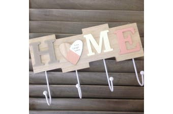 (Home Live Laugh Love) - Alice's Collection - Wooden Hanging Coat Rack & Keys Holder With 4 Hooks - Wall Mounted Heavy Duty Jacket Hanger - Modern Home Decor - Size 28x17x4.5cm (HOME Live Laugh Love)