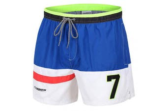 (Multicolored, S) - coskefy Mens Swimming Shorts Solid Leisure Watershorts Swim Trunks (36cm -41cm )