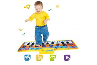 Afufu Musical Toys, Piano Mat Musical Carpet Baby Activity Play Mats,Baby Early Education Music Singing Piano Keyboard MusicTouch Mat,Great Baby Toy Gift for Birthday Christmas Festival(yellow)