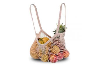 (Beige) - Reusable Grocery Bags Mesh Beach Bag Cotton Net Shopping String Bags (Beige)