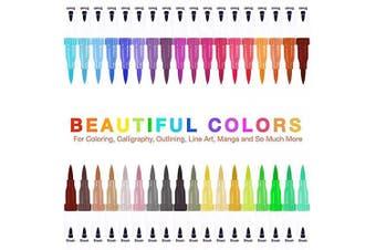 (36 Colors) - 36 Colours Dual Tip Brush Pens, ALLOMN Calligraphy Brush Marker Pens for Kids Adults Colouring Books Bullet Journal, Hand Lettering