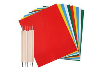 AFUNTA 10 Pieces Transfer Paper with 5 Pcs Double Ended Embossing Stylus, 23cm x 28cm Carbon Water Soluble Tracing Paper Suitable Cloth, Canvas, Wood for Sewing Cross Stitch Paint Kit