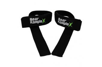 (Black) - Bear KompleX Lifting Straps (Pair) - Cotton - Neoprene Padded - for Weightlifting, Bodybuilding, Circuit Training, Strength Training, Powerlifting- Lifting Straps