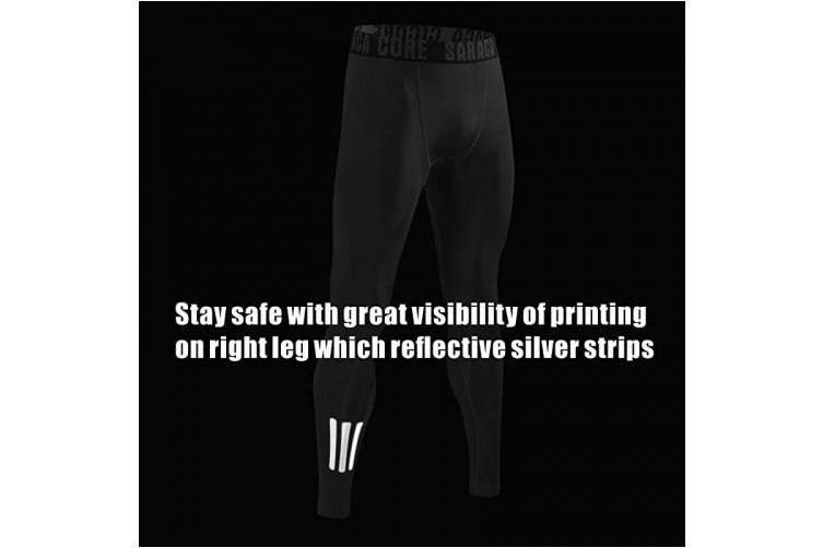 (X-Large, Blackpatternlll) - saraca core Men's Youth Compression Pants Running Legging Soccer Football Tights Winter Baselayer