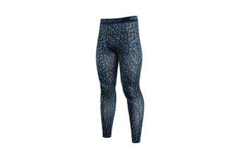 (Small, mi blue) - ARSUXEO Men's Compression Tights Running Pants Baselayer Legging K3