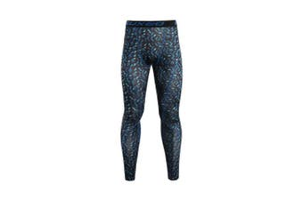 (X-Large, mi blue) - ARSUXEO Men's Compression Tights Running Pants Baselayer Legging K3