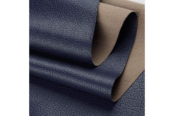 """(By The Yard, Dark Blue) - Desirable Life Vinyl Faux Leather Fabric Cotton Back for Hand Crafts DIY Tooling Sewing Hobby Workshop Crafting Wallet Making Square 0.7mm Thick 54"""" Wide by The Yard (Dark Blue)"""