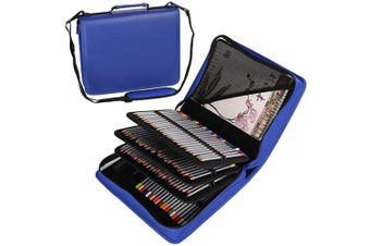 (180, Blue) - Shulaner 180 Slots PU Leather Coloured Pencil Case Organiser Large Capacity Carrying Bag for Prismacolor Watercolour Pencils, Crayola Coloured Pencils, Marco Pens, Gel Pens (Blue, 180)