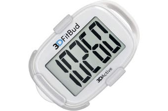 (White with Clip) - 3DFitBud Simple Step Counter Walking 3D Pedometer with Clip and Lanyard, A420S