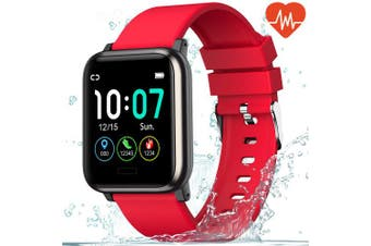 (Red) - L8star Fitness Tracker HR, Activity Tracker with 3.3cm IPS Colour Screen Long Battery Life Smart Watch with Sleep Monitor Step Counter Calorie Counter Smart Bracelet for Women Men