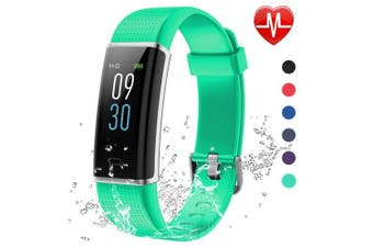 (green) - Lintelek Fitness Tracker, Colour Screen Activity Tracker with Heart Rate Monitor, Sleep Monitor, 14 Sports Modes, IP68 Waterproof Pedometer, Step Counter for Kids, Women, Men