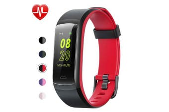 (Black-Red) - YAMAY Fitness Tracker, Fitness Watch Heart Rate Monitor Activity Tracker,Colour Screen Dual-Colour Bands IP68 Waterproof,with Step Counter Sleep Monitor 14 Sports Tracking for Women Men Kid