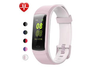 (Pink-White) - YAMAY Fitness Tracker, Fitness Watch Heart Rate Monitor Activity Tracker,Colour Screen Dual-Colour Bands IP68 Waterproof,with Step Counter Sleep Monitor 14 Sports Tracking for Women Men Kid