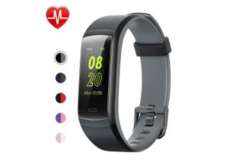 (Black-Grey) - YAMAY Fitness Tracker, Fitness Watch Heart Rate Monitor Activity Tracker,Colour Screen Dual-Colour Bands IP68 Waterproof,with Step Counter Sleep Monitor 14 Sports Tracking for Women Men Kid