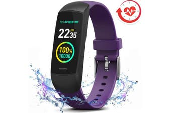 (Purple-No BP Monitor) - MorePro HRV Fitness Tracker Heart Rate, Activity Tracker with Blood Oxygen Monitor, Waterproof Pedometer Smart Watch with Sleep Monitor, Step & Calorie Counter for Women Men