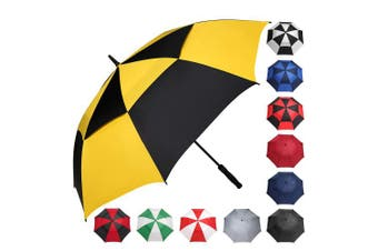 (150cm , Yellow/Black) - BAGAIL Golf Umbrella 68/2.7cm Large Oversize Double Canopy Vented Windproof Waterproof Automatic Open Stick Umbrellas for Men and Women