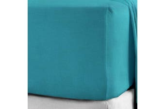 """(Double, Teal) - 100% Brushed Cotton Flannelette 40CM/16"""" Extra Deep Fitted Sheets in 12 Colours (Double, Teal)"""