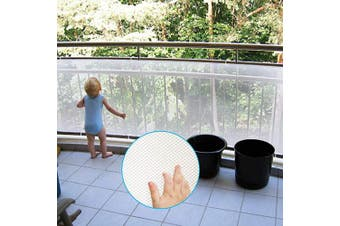 (White) - Adsoner Child Safety Net - 3m L x 0.8m H, Balcony, Patios and Railing Stairs Netting, Safe Rail Net for Kids/Pet/Toy, Sturdy Mesh Fabric Material (White)