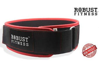 """(X-Large: 45"""" - 50"""", Black/Red) - ROBUST FITNESS 10cm Straight Weightlifting Belt for Abdominal & Back Support, Powerlifting, Squats, Cross-Training & Weight Training, Easily Adjustable."""