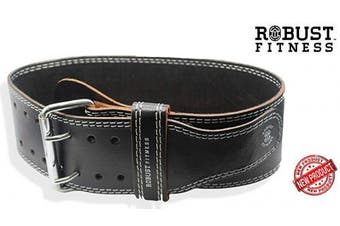 """(Small - 22"""" - 32"""", Black/White) - ROBUST FITNESS Genuine Leather Adjustable Weightlifting Belt, Protection & Support for Back & Core Workouts, Cross-Training, Olympic & Power-Lifting- 4"""" Wide, 5mm"""
