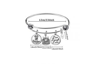 (65th) - Awyuan 13th 16th 18th 21st 30th 40th 50th 60th Birthday Gifts for Women Girls Adjustable Bracelet Bangle Stainless Steel Jewellery