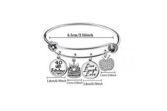 (40th) - Awyuan 13th 16th 18th 21st 30th 40th 50th 60th Birthday Gifts for Women Girls Adjustable Bracelet Bangle Stainless Steel Jewellery