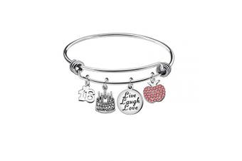 (16th) - Awyuan 13th 16th 18th 21st 30th 40th 50th 60th Birthday Gifts for Women Girls Adjustable Bracelet Bangle Stainless Steel Jewellery