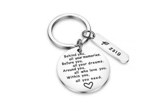 CJ & M Graduation Keyring Behind You All Memories Before You All Your Dream Graduation Keychain Graduation Gifts Inspirational Jewellery Inspirational Gift for Girl,Boys.