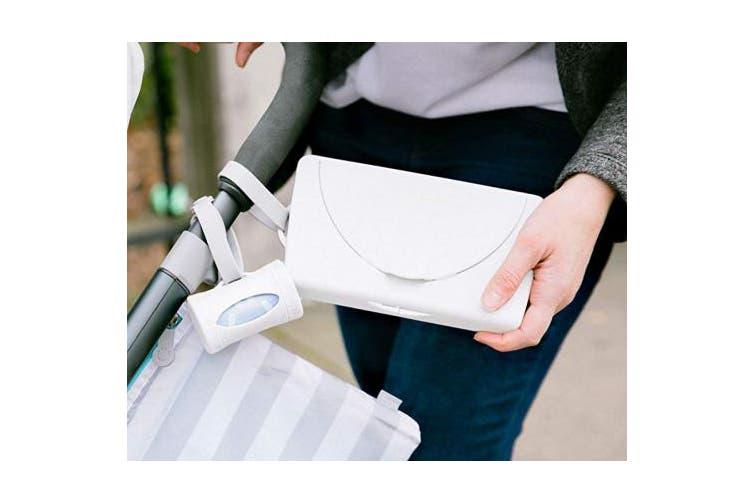 (White Wipe Dispenser) - Ubbi On The Go Wipe Holder Baby Gift, White
