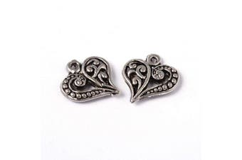 (50pc Heart3) - Craftdady 50Pcs Antique Silver Filigree Heart Pendants 14x13mm Tiny Tibetan Metal Dangle Love Heart Bead Charms for Jewellery Making Hole: 1.5mm Lead Free