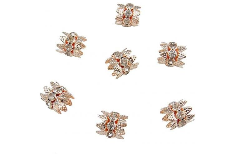 (100pcs, rose gold) - Coiris 100PCS 10mm Double Beads Caps with Rhinestone Filigree Flower Cup for Jewellery Making DIY (HT-1000-100RG)