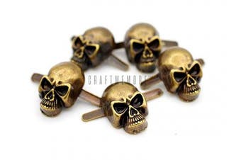(Medium 10 x 15 mm, Antique Brass) - CRAFTMEmore Skull Prong Stud Head Bone Gothic Style Ghost Studs Leather Craft Decorations Pack of 10 (Medium 10 x 15 mm, Antique Brass)